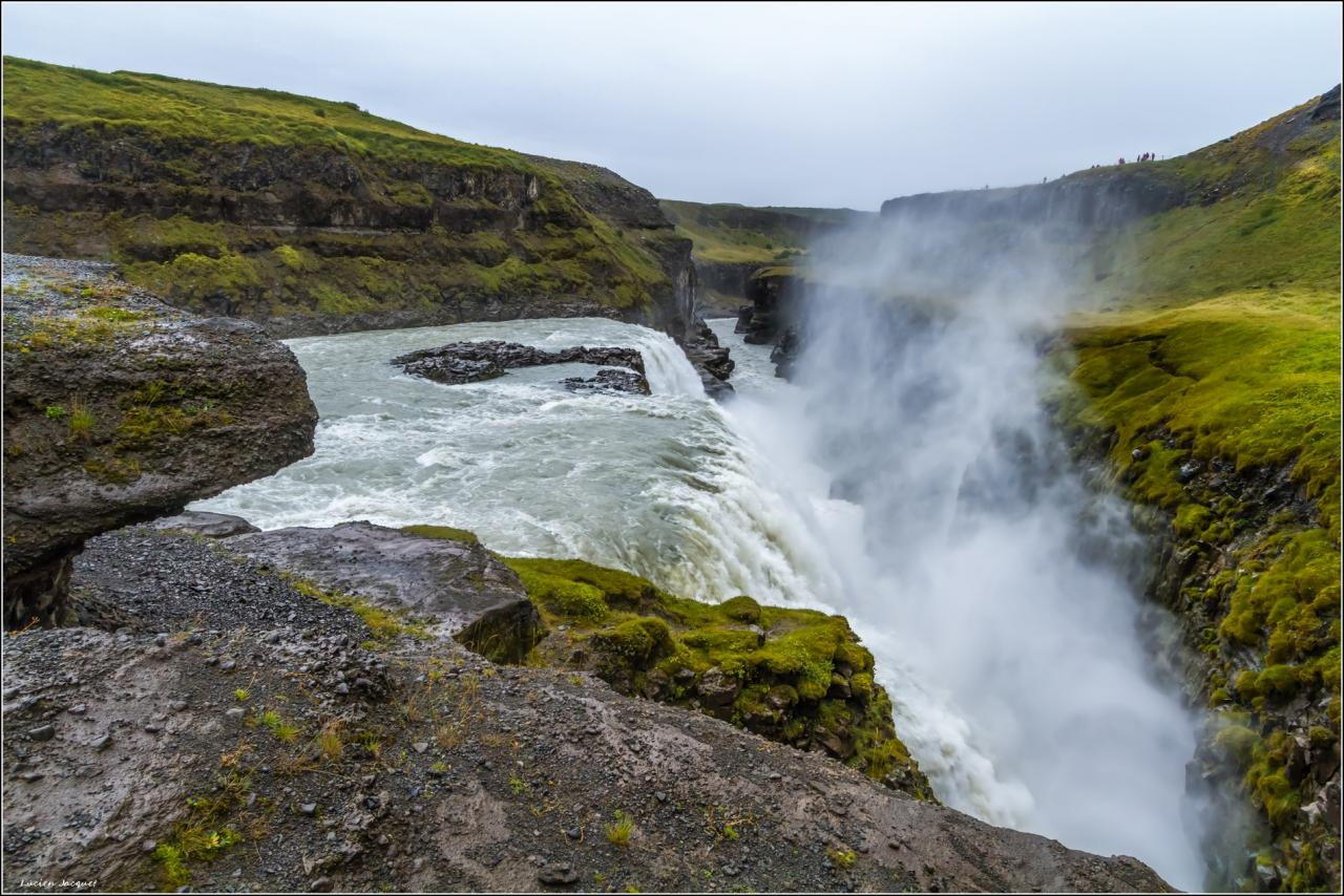 Gullfoss, Islande sous la pluie.